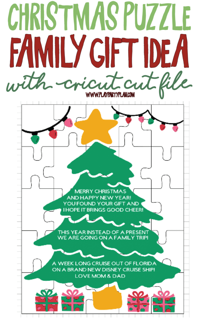 Giving your family a gift for the whole family? Make the gift giving more fun with this Christmas puzzle gift idea! Complete with a free editable cut file you can use to change it up with your own family gift! via @playpartyplan