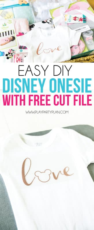 Easy Disney onesie with a free cut file!