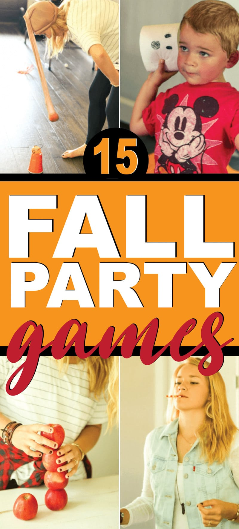 Hilarious fall party games that are perfect for kids, adults, and teens! Great for Halloween, Thanksgiving, fall parties, and more! via @playpartyplan
