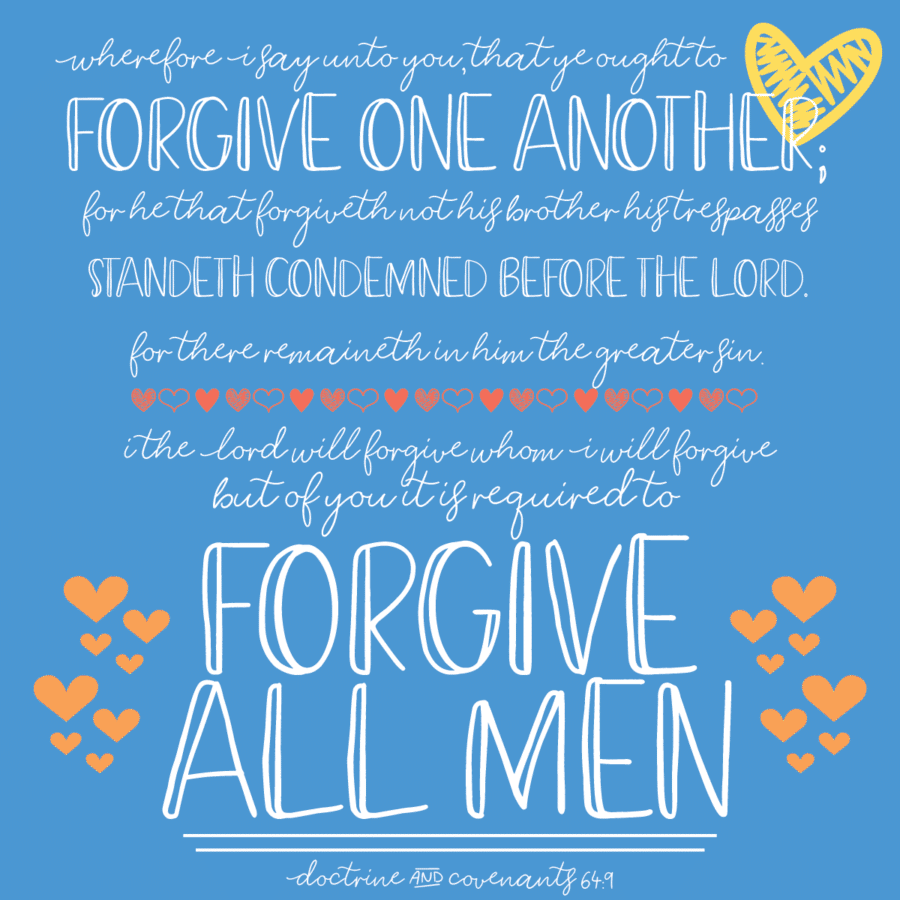 Free printable forgiveness handouts perfect for Relief Society meetings, young women lessons, or a lesson on forgiveness.