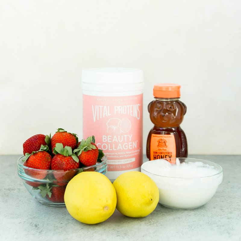 Ingredients for one of the best healthy smoothie recipes - strawberry lemonade smoothie.
