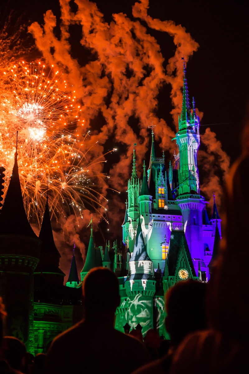 Fireworks by Magic Kingdom Castle at Mickey's Not So Scary Halloween Party