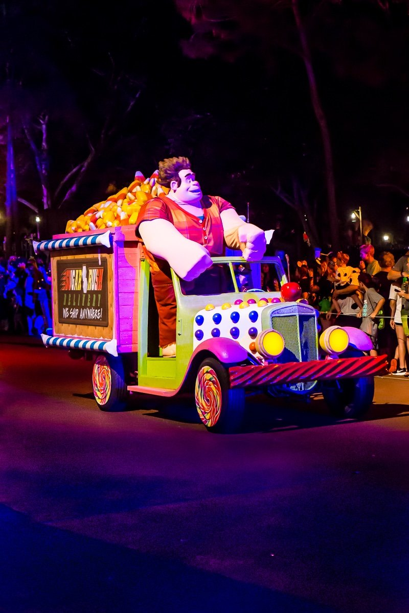Wreck it Ralph float at the Mickey's Not So Scary Halloween Party