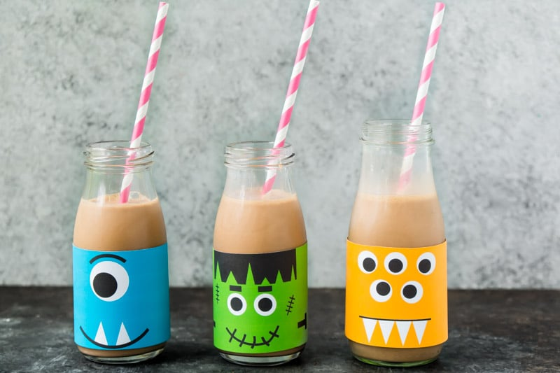 Milk bottles decorated as monsters make great Halloween party food