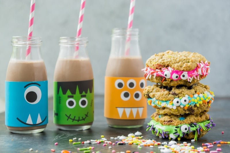 Monster cookies sandwiches and monster milk make the best Halloween treats