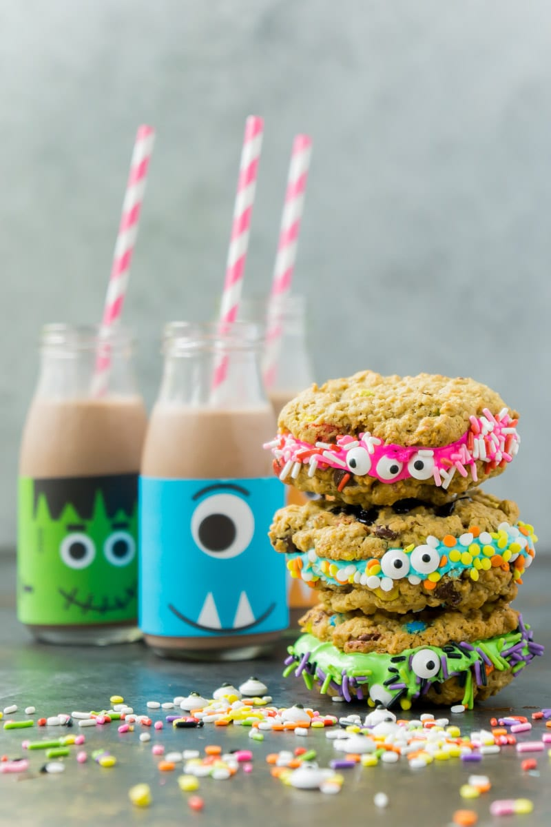 Monster milk and cookies make great Halloween party food ideas