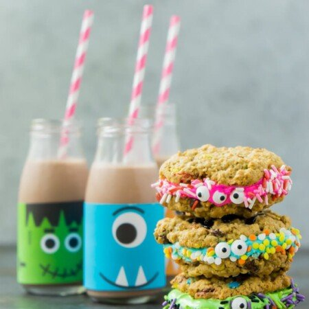 These monster cookie sandwiches make the best Halloween party food