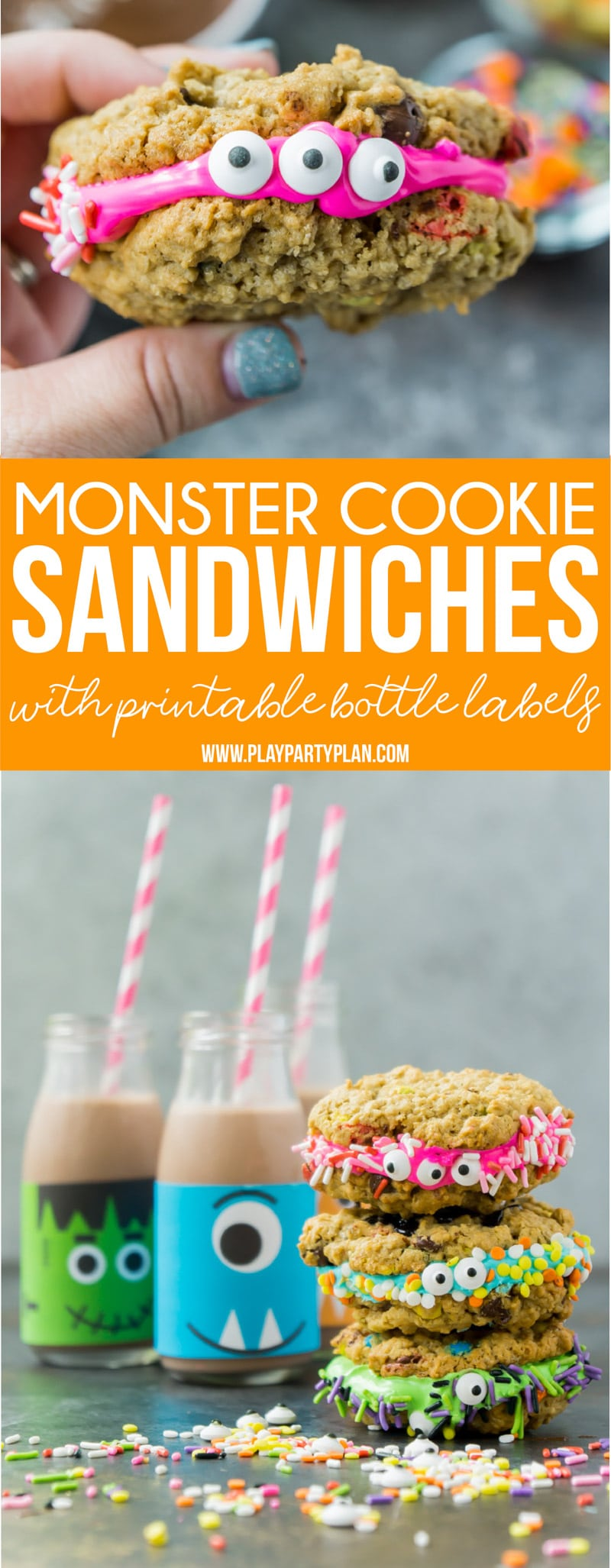 These monster cookie sandwiches are the perfect Halloween food ideas for kids! Make them for party day, as treats for after Halloween dinner, or to add to the Halloween desserts table! They're easy, delicious, and not so creepy!