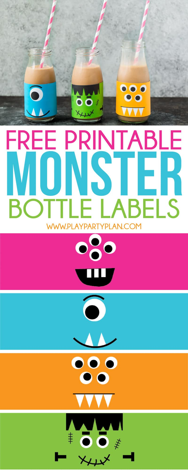 Cute printable Halloween bottle labels that are perfect for milk, juice, or water!