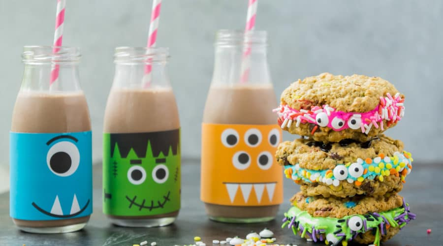 Monster Milk and Cookie Sandwiches