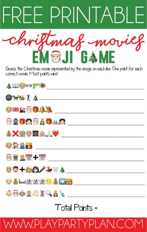 Free printable Christmas emoji games