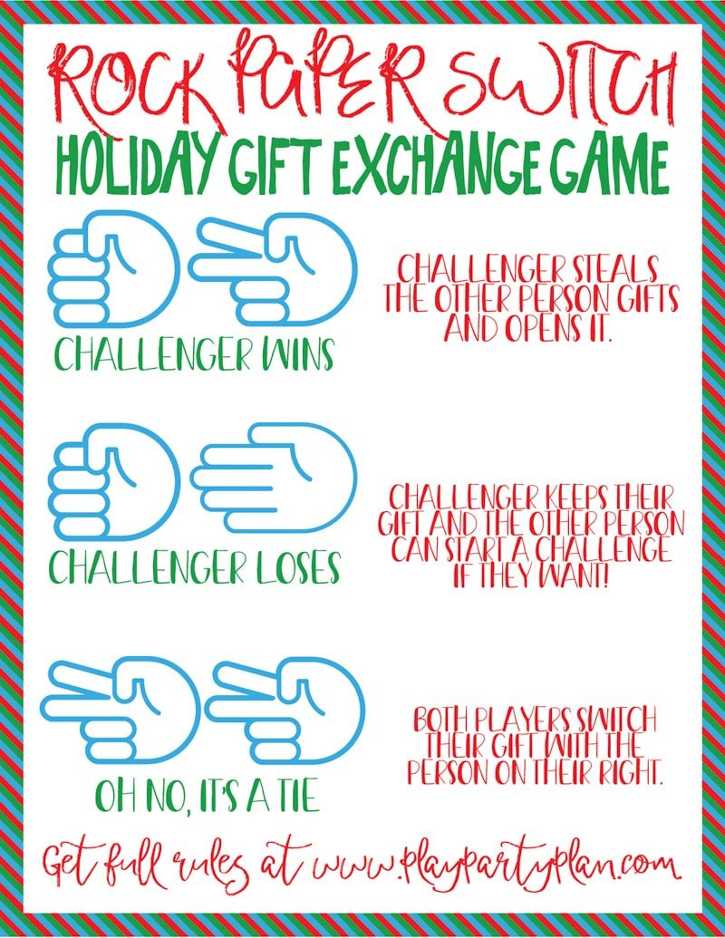 This rock paper scissors switch gift exchange game is one of the best Christmas party games ever! It's one of the most fun gift exchange ideas for adults, kids, or anyone in between! With the added rock paper scissors element, it's funny to watch your friends try to get their favorite things as everyone plays together!