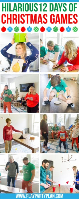 Hilarious 12 days of Christmas inspired Christmas games! The most fun games whether you want something for adults, for kids, or for groups of mixed ages! They're perfect for family parties, office parties, and even better when paired with a 12 days of Christmas gift exchange!