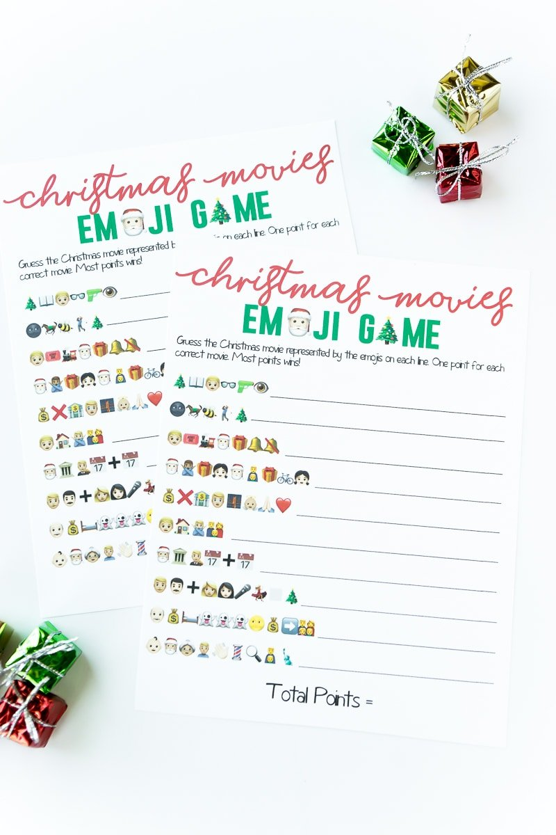 Two printed copies of a Christmas emoji game