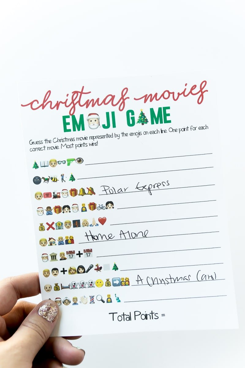 A free printable Christmas emoji game