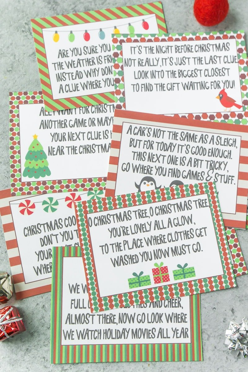 Free printable Christmas scavenger hunt clues