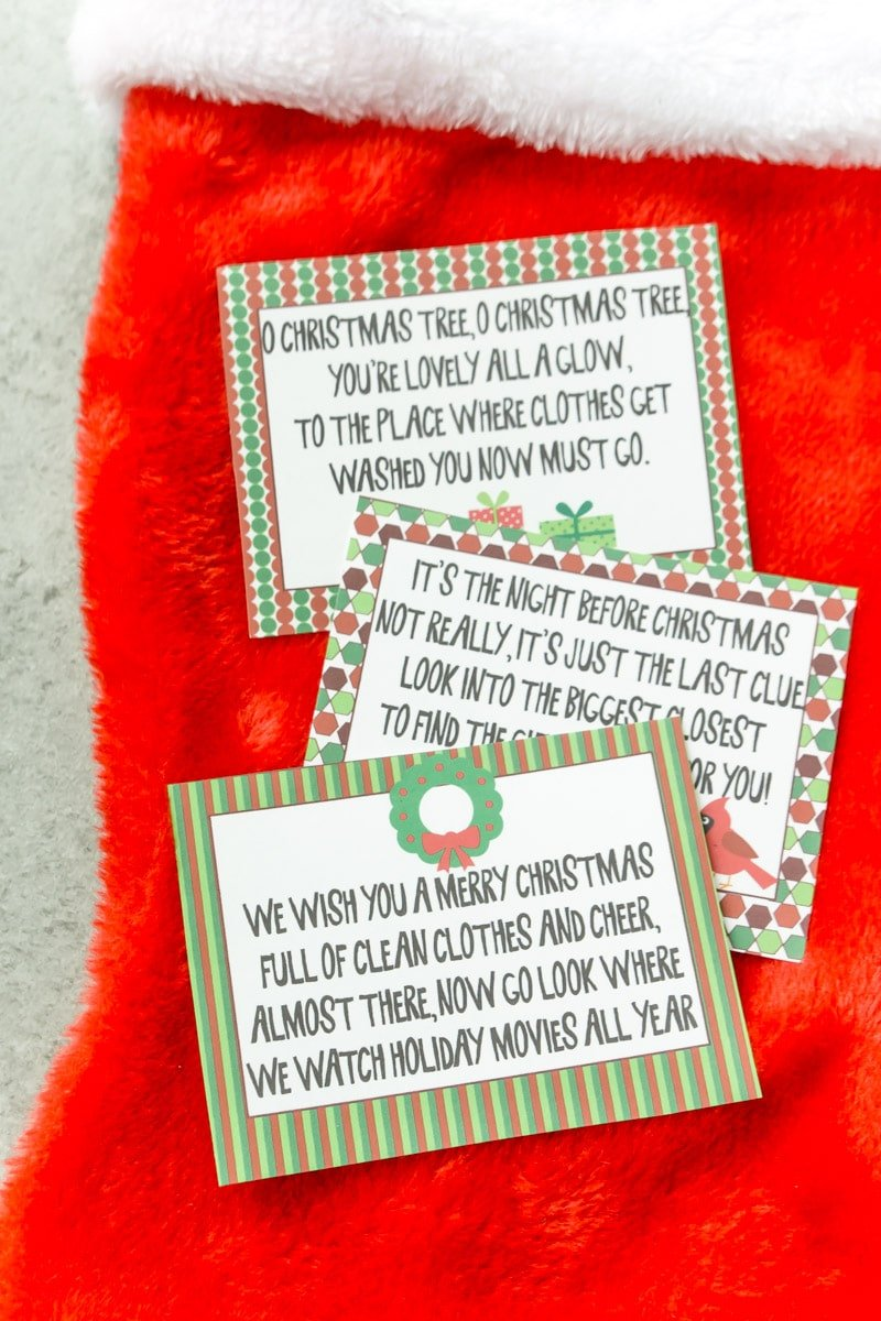 Three Christmas Scavenger hunt riddles on printable cards