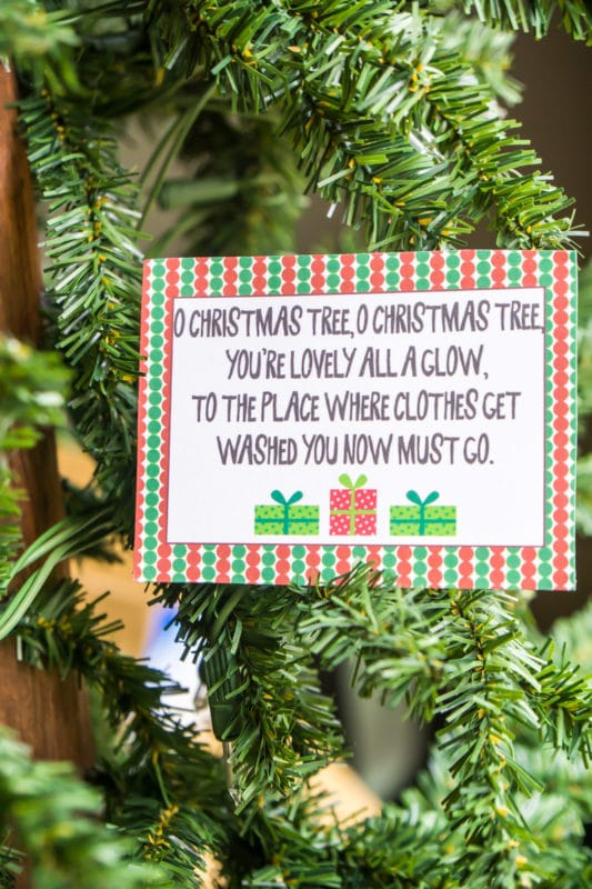 Christmas Scavenger hunt riddles on decorated cards