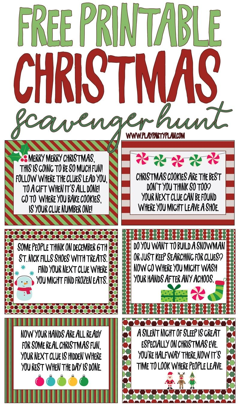 graphic relating to Clue Cards Printable referred to as Ideal At any time Xmas Scavenger Hunt - Perform Get together System