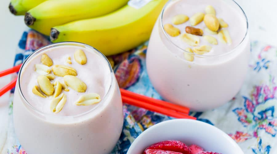 A strawberry and banana peanut butter smoothie