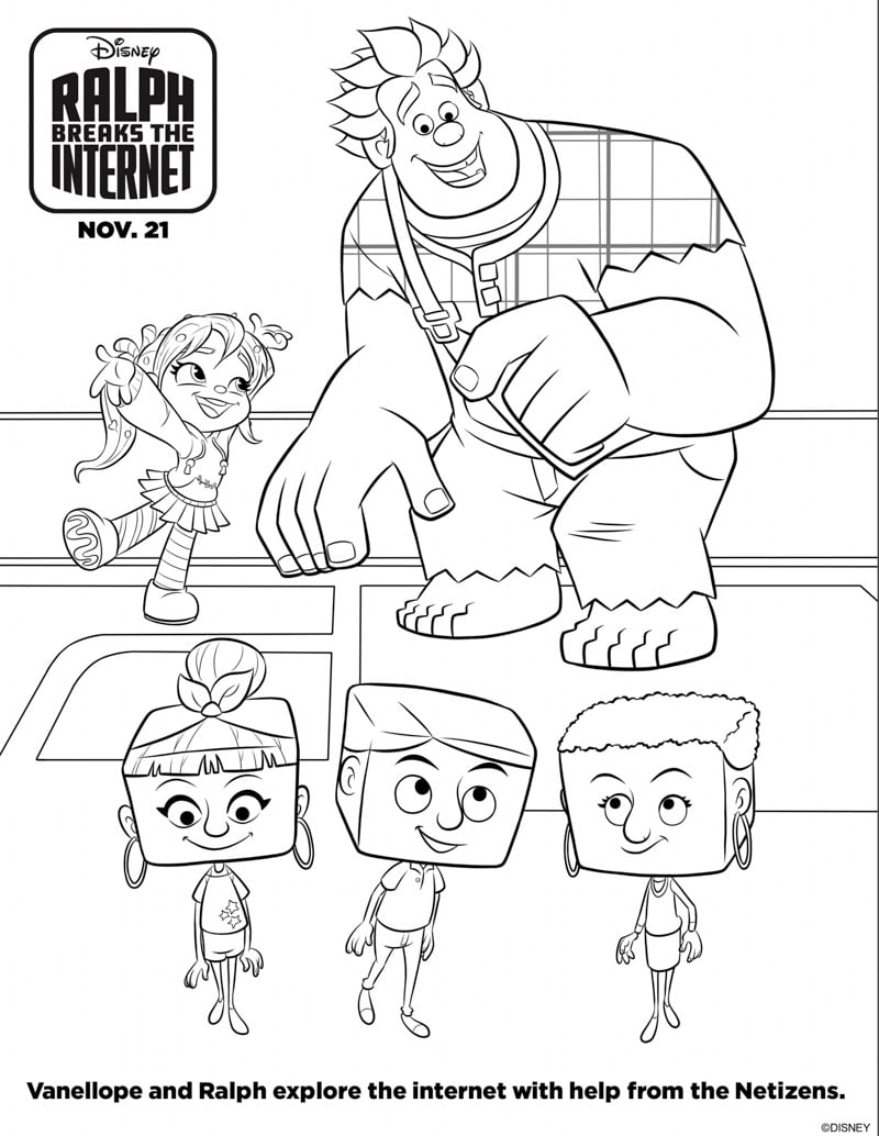 Ralph breaks the internet coloring pages and activities