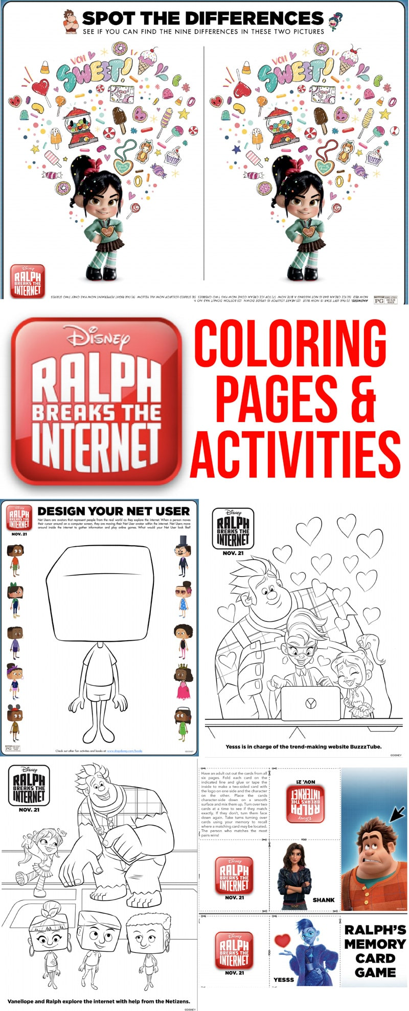 Free printable Ralph Breaks the Internet coloring pages and activity sheets! Perfect for anyone looking for Wreck it Ralph coloring pages! via @playpartyplan