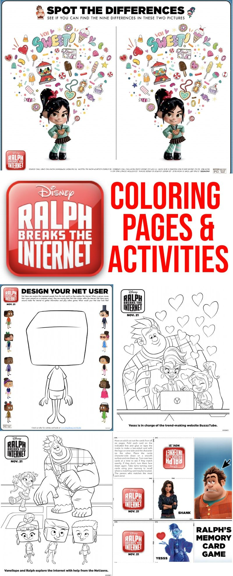 Free printable Ralph Breaks the Internet coloring pages and activity sheets! Perfect for anyone looking for Wreck it Ralph coloring pages!