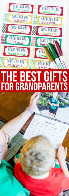 A collage of images of the best gifts for grandparents