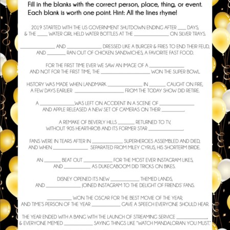 Fill in the blank printable New Year's Eve games