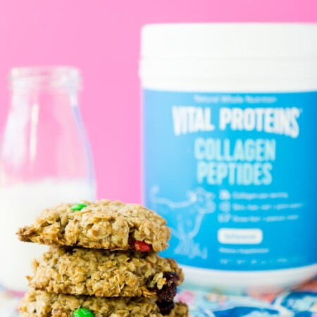 Trail mix breakfast cookies made with Vital Proteins collagen peptides