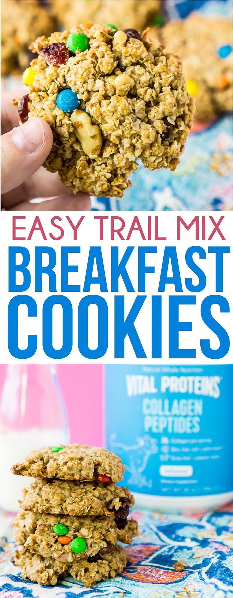 These breakfast cookies are the perfect protein packed and healthy breakfast for kids! They're easy to make and use the flavors of trail mix in one delicious breakfast cookie that both adults and kids will love!