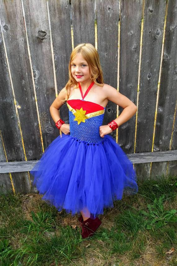Captain Marvel costume with a tutu dress for little girls