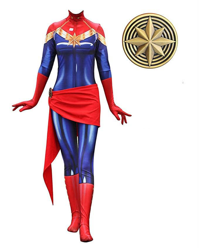 A Captain Marvel costume cosplay option