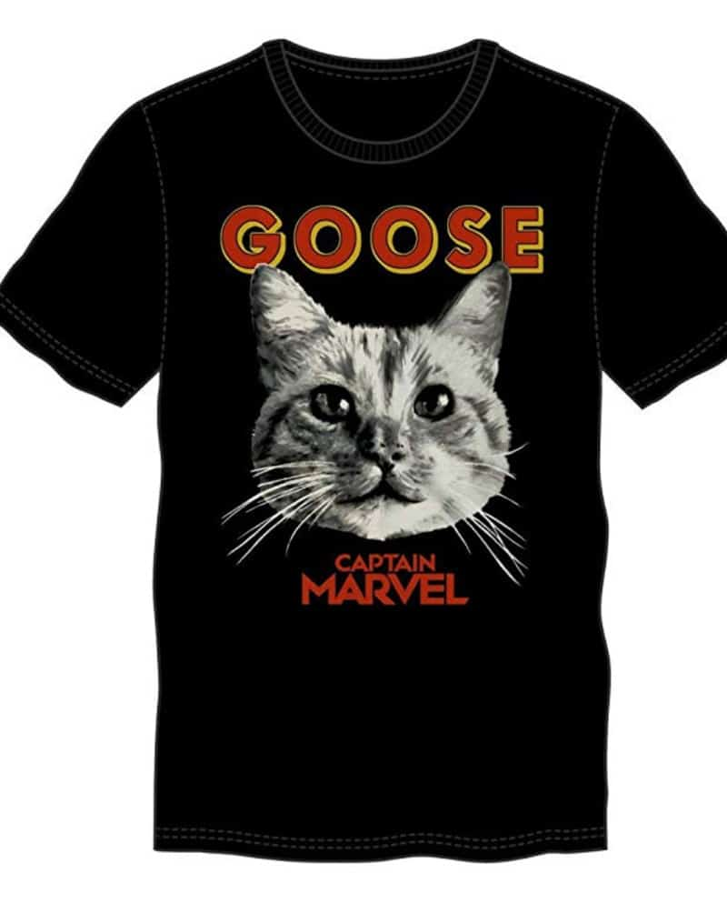 A Captain Marvel shirt featuring Goose the cat