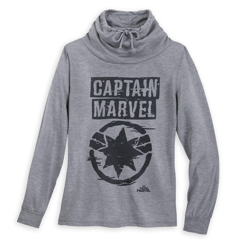 A Captain Marvel sweatshirt with a cowl neck hoodie