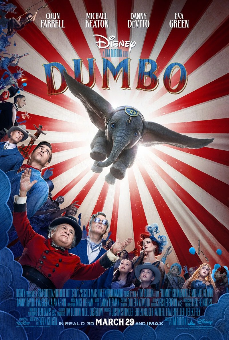 Dumbo movie trailer with a list of Disney movies coming out in 2019