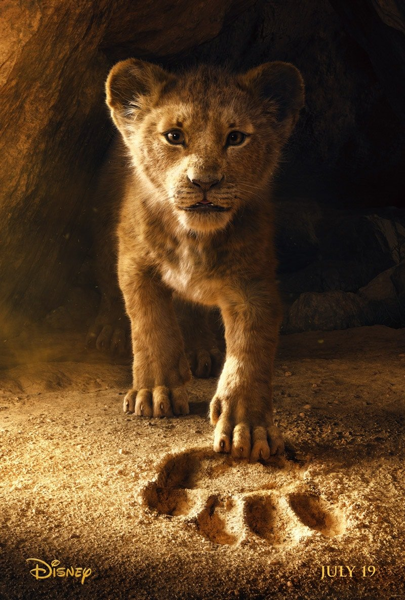The Lion King movie poster and a list of Disney movies coming soon