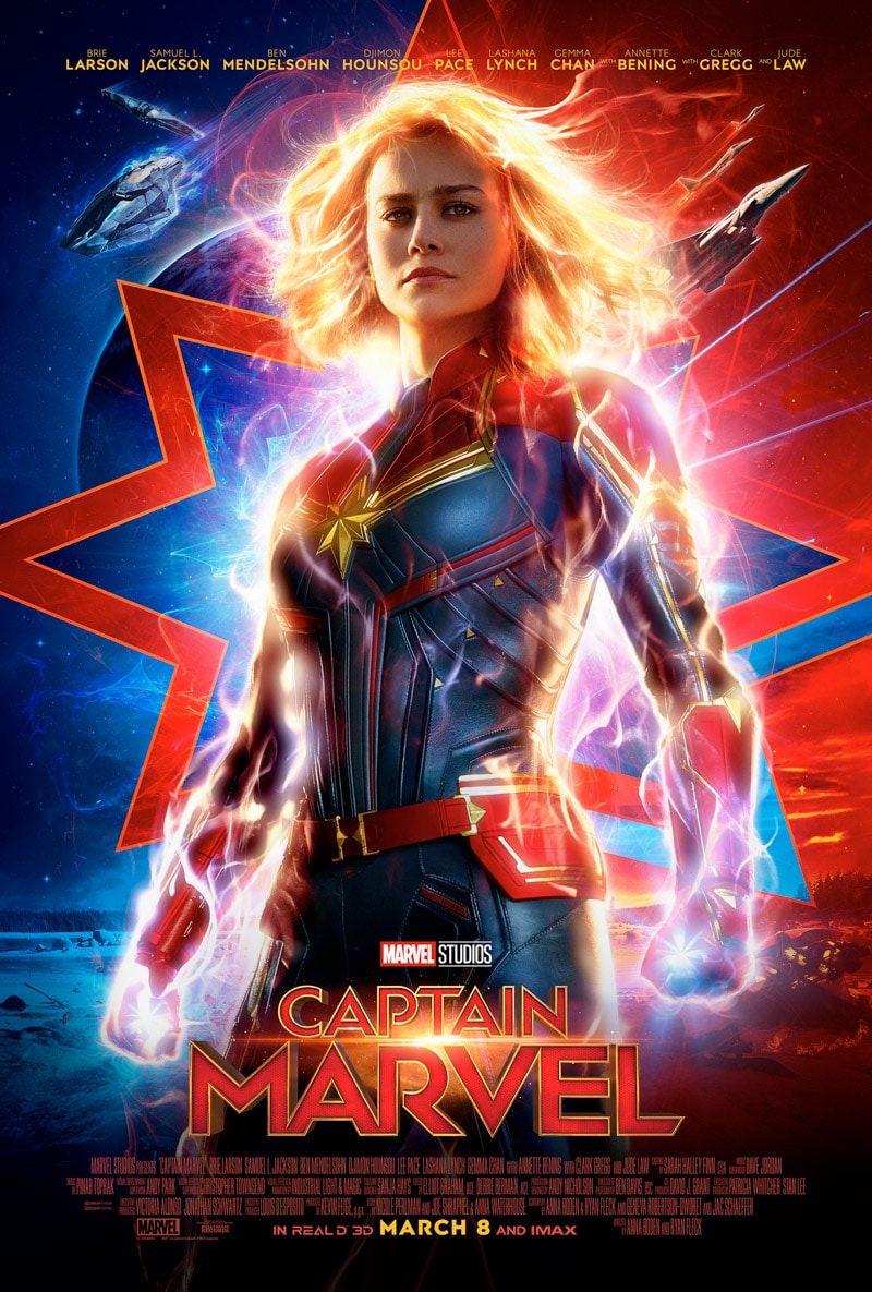 Captain Marvel trailer with a list of Disney movies coming out in 2019