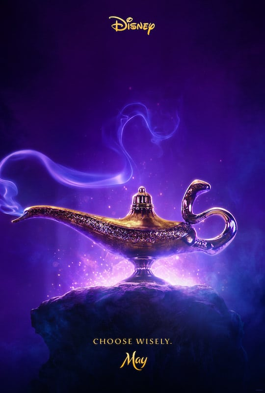 Aladdin movie poster and a Disney movies list for 2019
