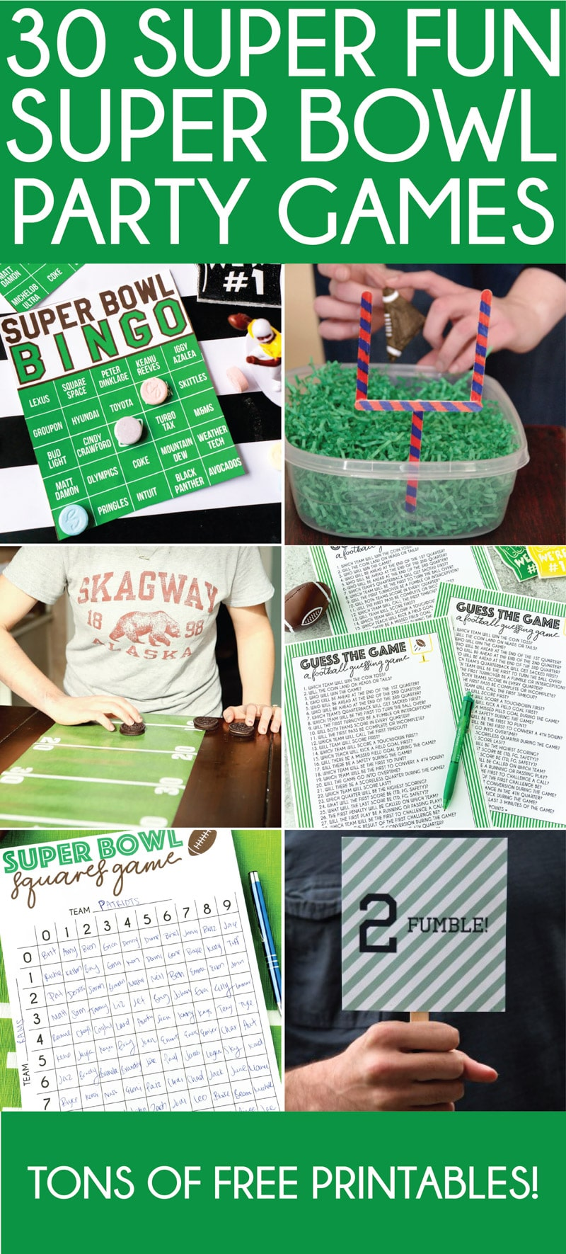 The best Super Bowl party games ever! Games for kids, games for adults, betting games, bingo, and more!