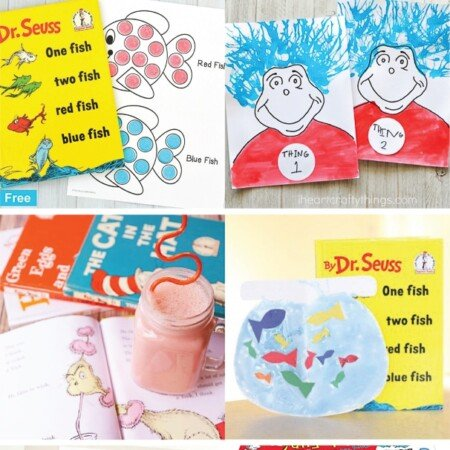 Tons of Dr. Seuss Day ideas including crafts, activities, games, DIY snacks, and more! Tons of things you can do with your classroom, at preschool, or with kids at home! #DrSeuss #DrSeussDay #Kidsactiviites #readacrossamerica