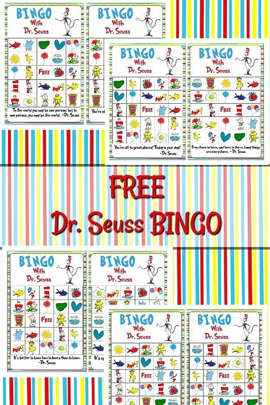 Dr Seuss bingo cards and other Dr Seuss games