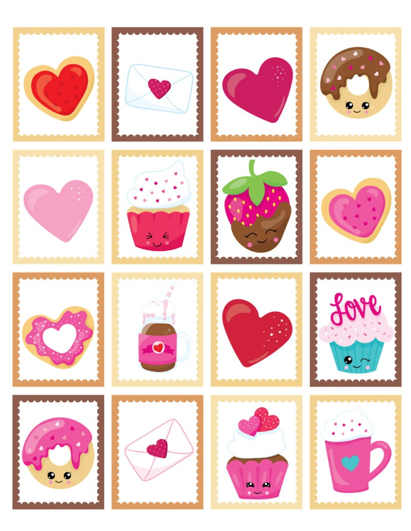 Valentine's Day memory cards ready to be matched