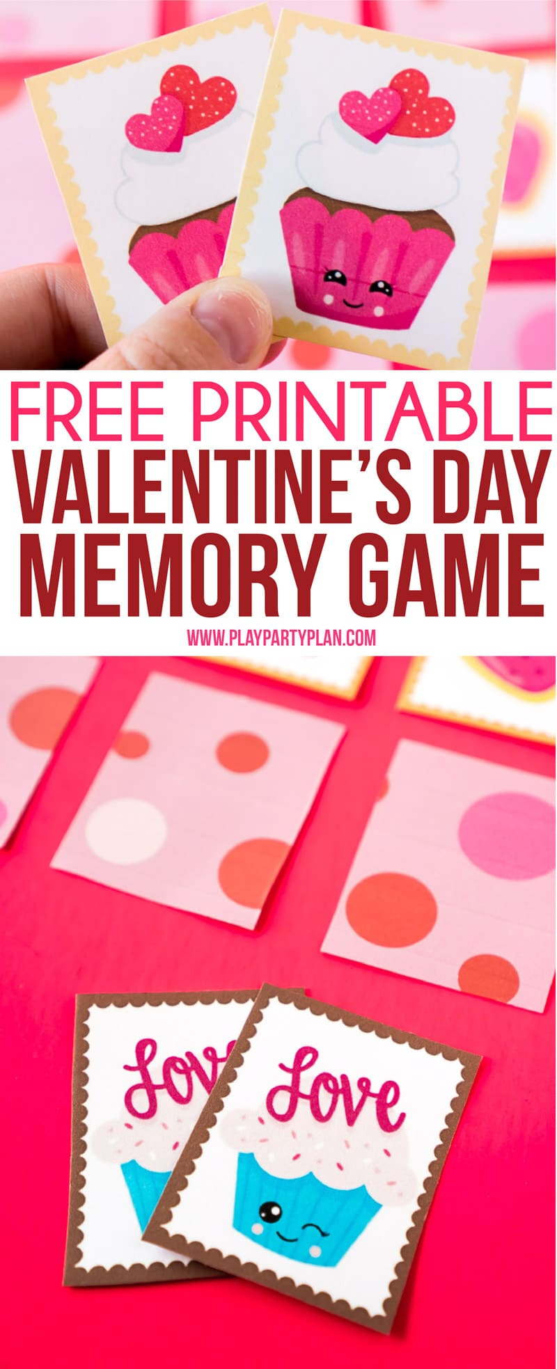 Fun Valentine's Day memory game for kids or for seniors! Simply print out the cute Valentine's Day themed cards, set them out, and see who can find the most matches first! One of the easiest Valentine's Day games ever! Perfect for school classroom parties. #ValentinesDay #kidsgames #Printables #kidsactivities via @playpartyplan