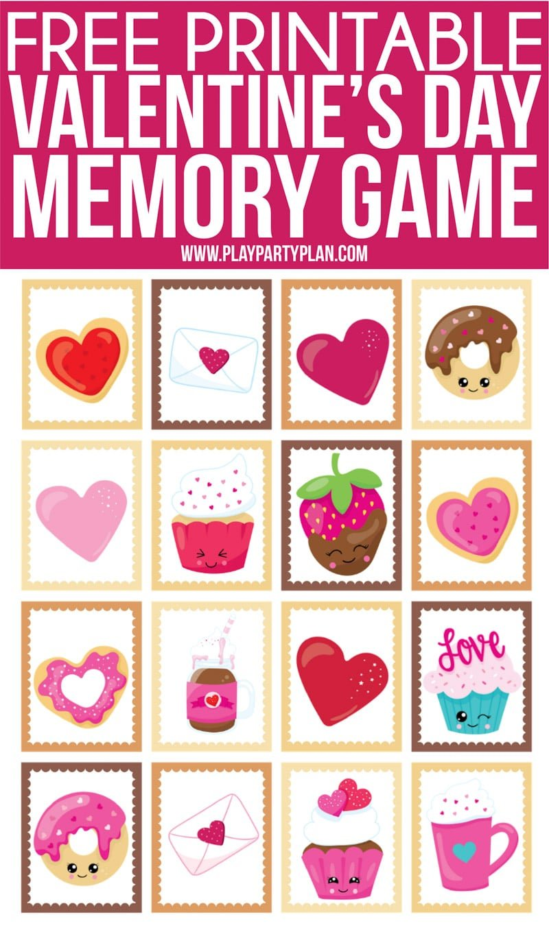 Fun Valentine's Day memory game for kids or for seniors! Simply print out the cute Valentine's Day themed cards, set them out, and see who can find the most matches first! One of the easiest Valentine's Day games ever! Perfect for school classroom parties. #ValentinesDay #kidsgames #Printables #kidsactivities