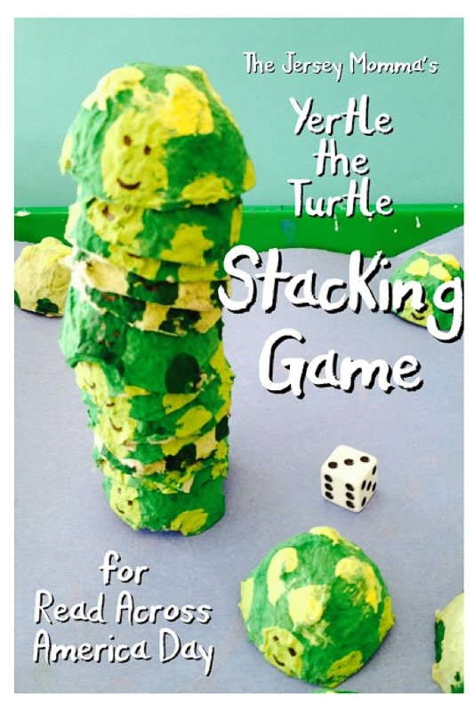 A Yertle the Turtle stacking game for Dr. Seuss Day