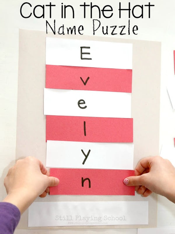 Dr Seuss activities like a cat in the hat name puzzle