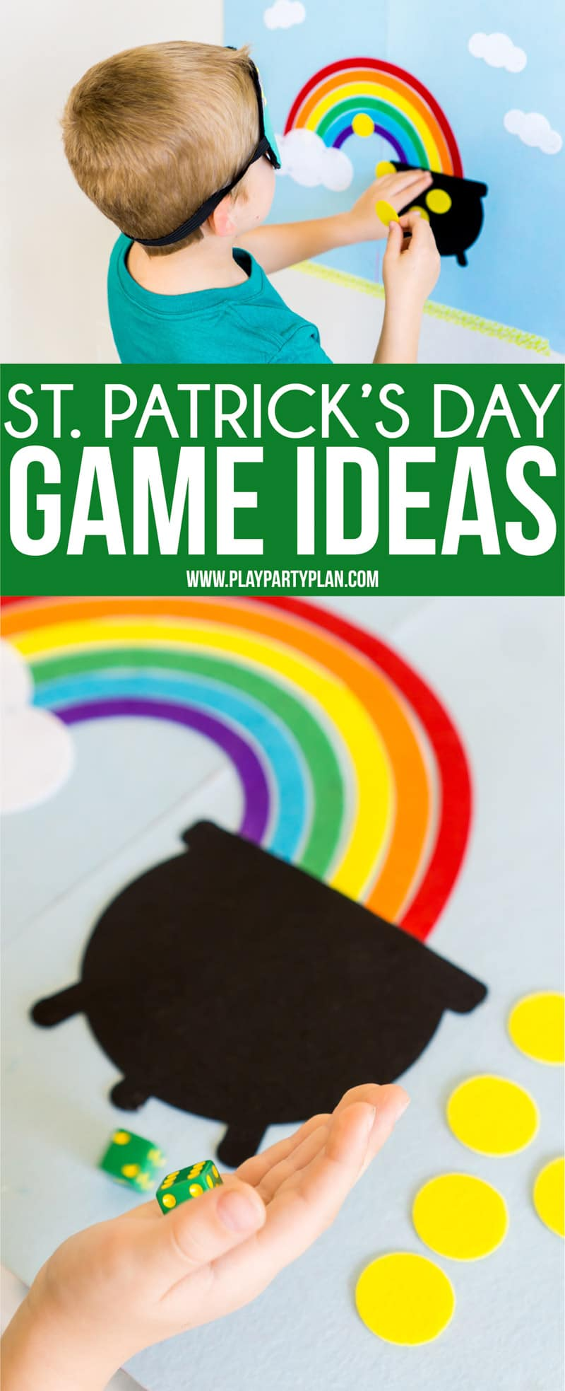 Two DIY St. Patrick's Day games that work great for kids or for adults! Great activities if you're looking for ideas to do in the classroom or even if you want crafts for kids to do on St. Patrick's Day - have them make the games! #StPatricksDay #kidsgames #partygames #CricutMaker