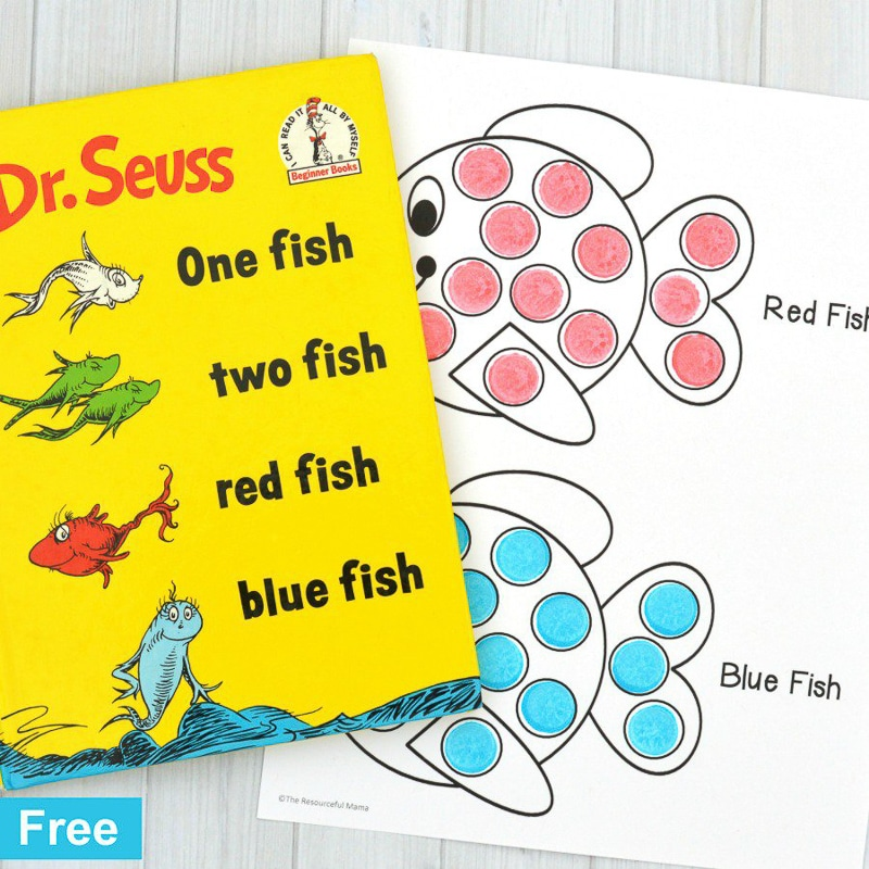 Printable Dr Seuss activities like red fish blue fish paint stampers