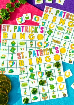 A winning bingo shown on St. Patrick's Day bingo cards